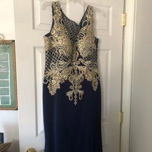 Elegant navy silk dress